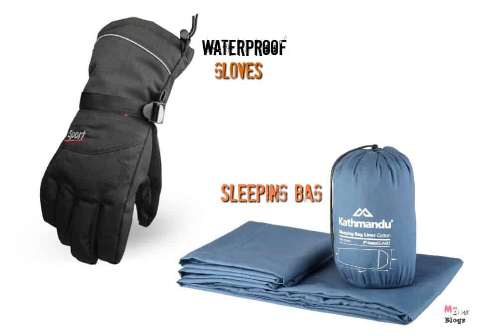 sleeping-bag-and-waterproof-gloves