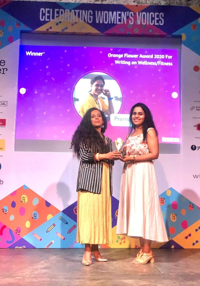 Awarded As the Best Fitness And Wellness Blogger By Women's Web At The Orange Flower Festival 2020