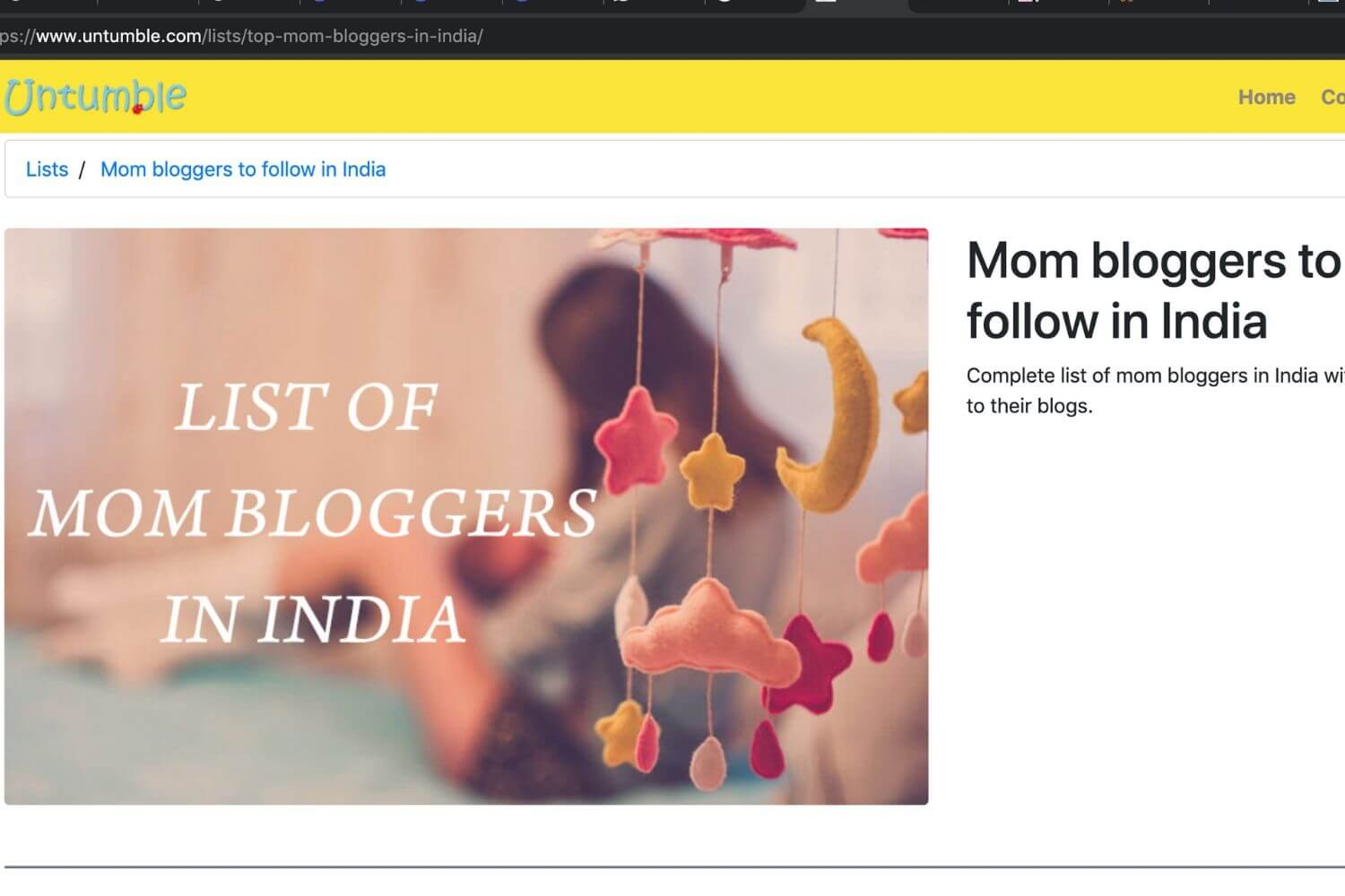 Mom bloggers in India