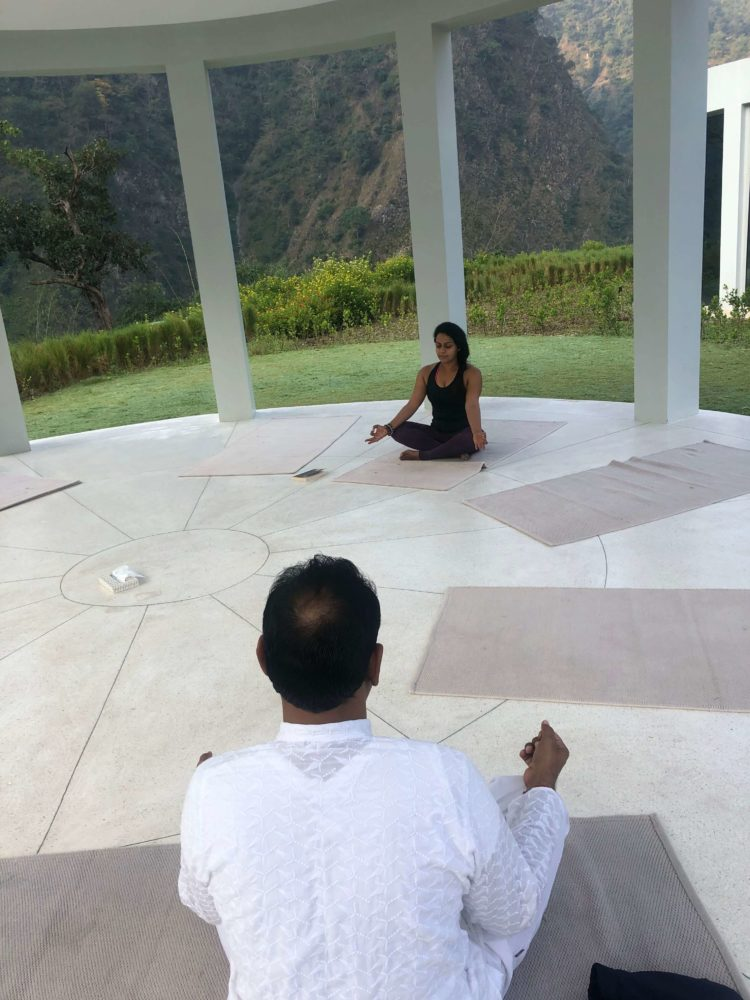 Me practicing morning yoga At Taj Rishikesh