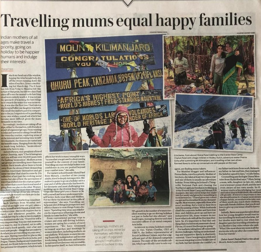 Prerna Sinha Featured On Mint Lounge On Women's Day For Travelling Moms Have Happy Families
