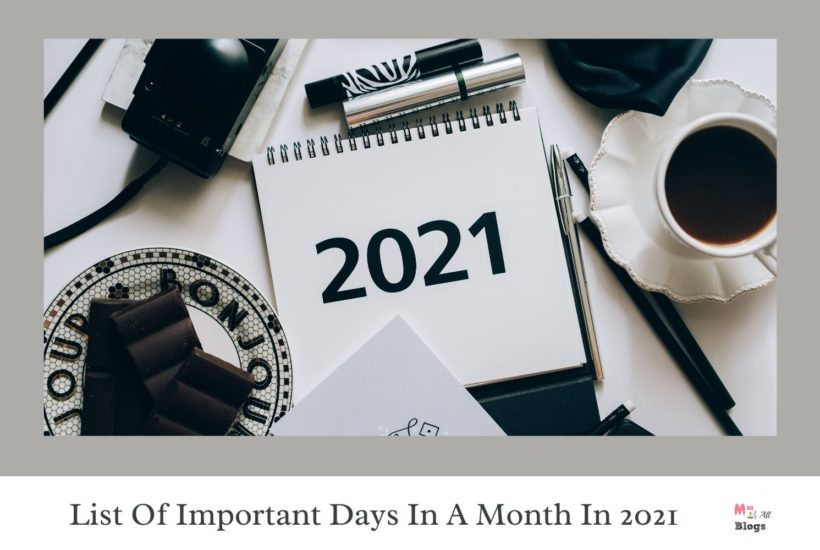 List Of Important Days In A Month In 2021