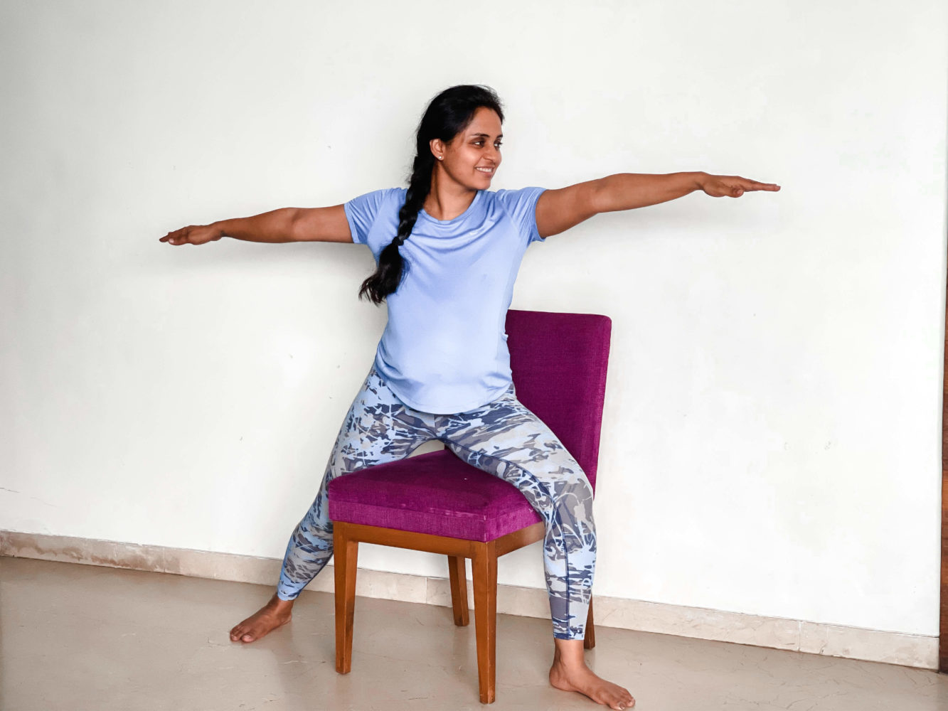 Supported Virbhadrasana II during Pregnancy