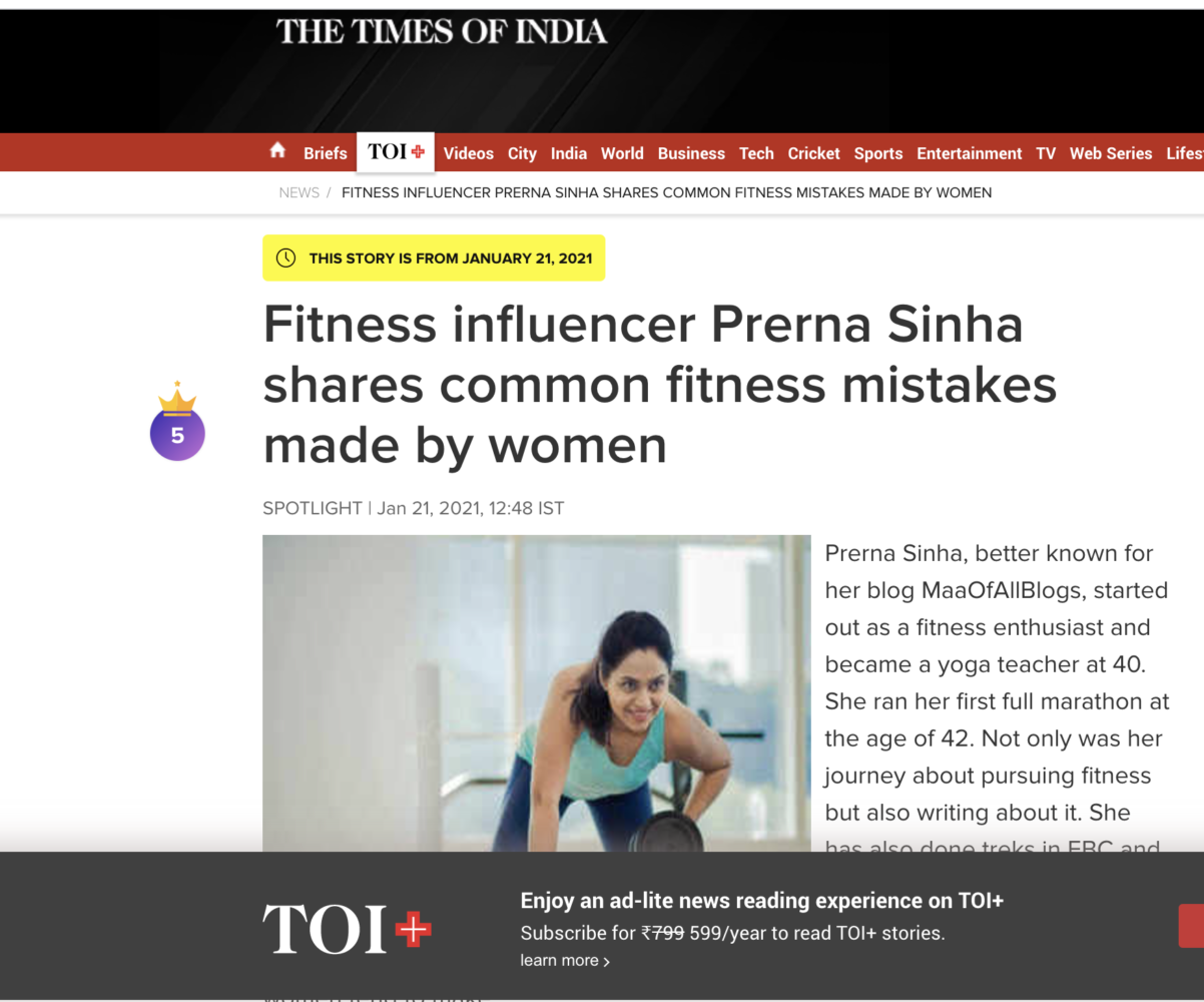 Prerna Sinha @MaaOfAllBlogs , Featured In Times Of India